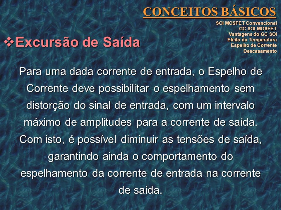 Excursão de Saída CONCEITOS BÁSICOS