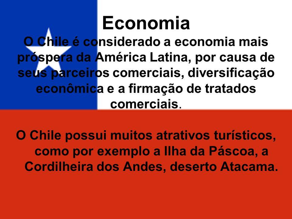 Economia O Chile é considerado a economia mais próspera da América Latina, por causa de seus parceiros comerciais, diversificação econômica e a firmação de tratados comerciais.