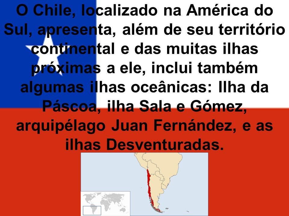 O Chile, localizado na América do Sul, apresenta, além de seu território continental e das muitas ilhas próximas a ele, inclui também algumas ilhas oceânicas: Ilha da Páscoa, ilha Sala e Gómez, arquipélago Juan Fernández, e as ilhas Desventuradas.
