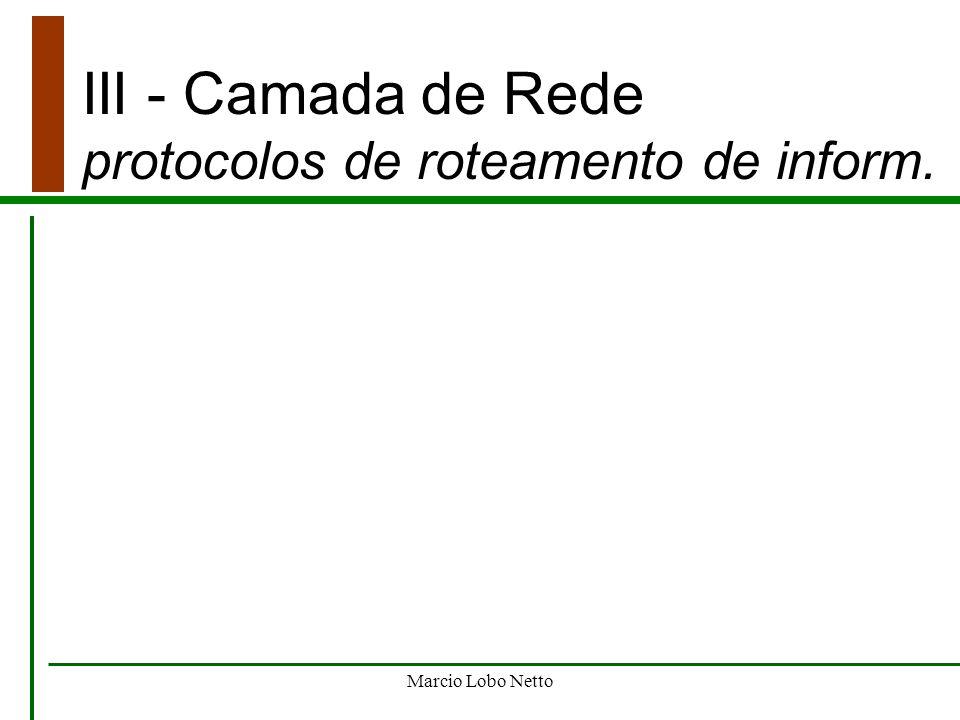 III - Camada de Rede protocolos de roteamento de inform.