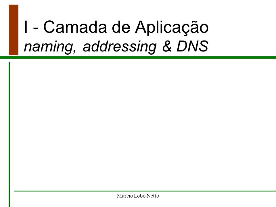 I - Camada de Aplicação naming, addressing & DNS