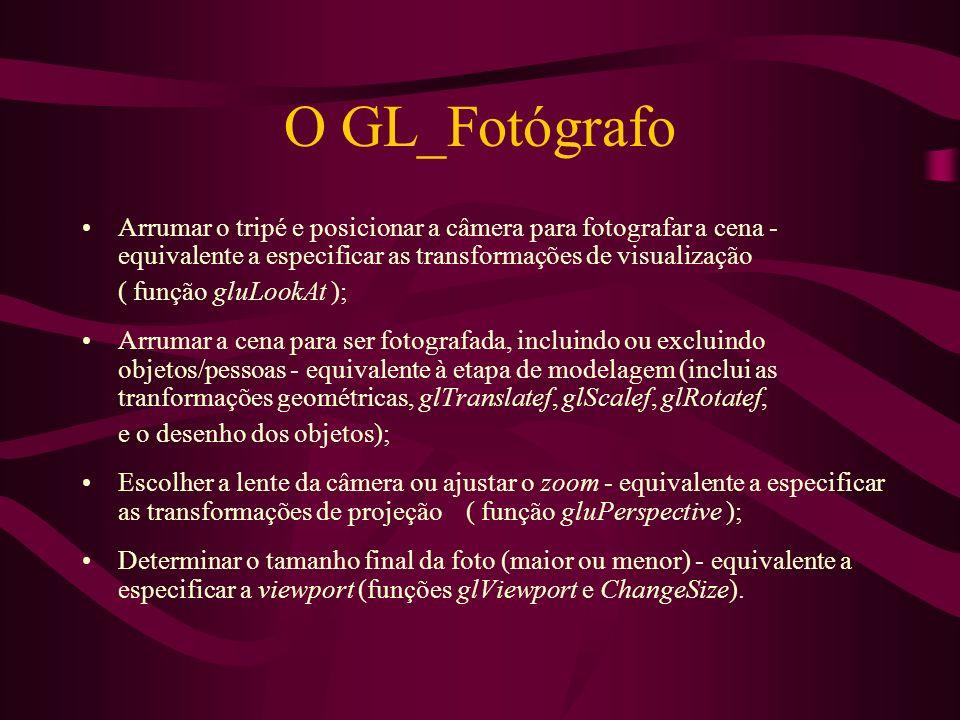 O GL_Fotógrafo Arrumar o tripé e posicionar a câmera para fotografar a cena - equivalente a especificar as transformações de visualização.