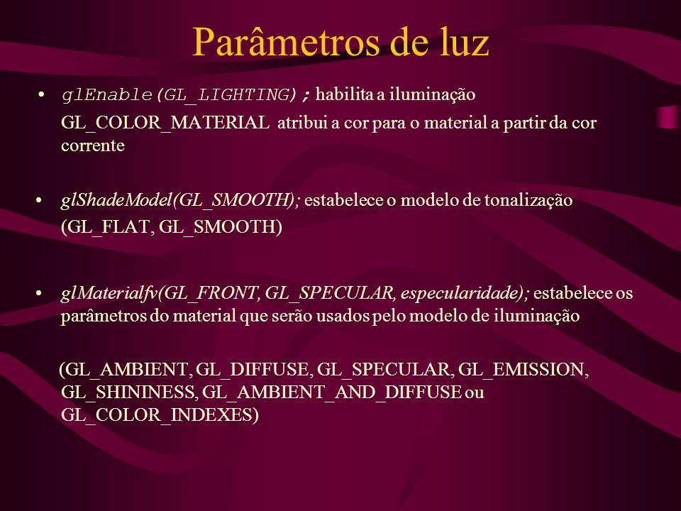 Parâmetros de luz glEnable(GL_LIGHTING); habilita a iluminação