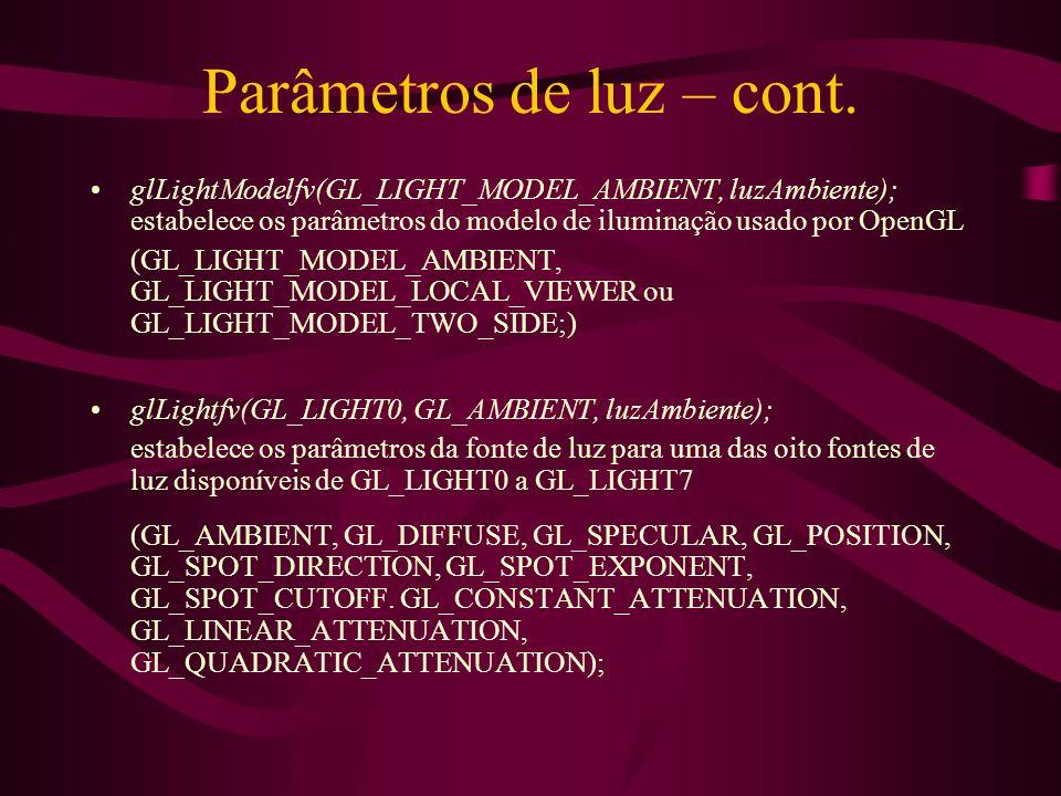 Parâmetros de luz – cont.