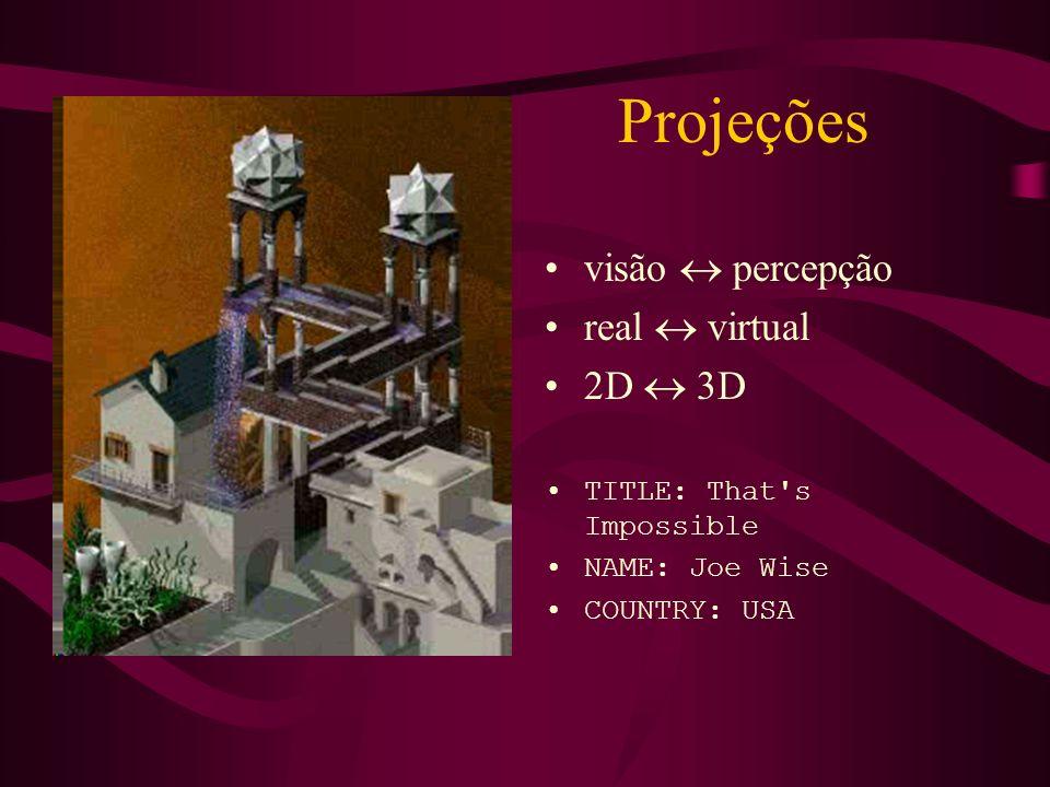 Projeções visão  percepção real  virtual 2D  3D