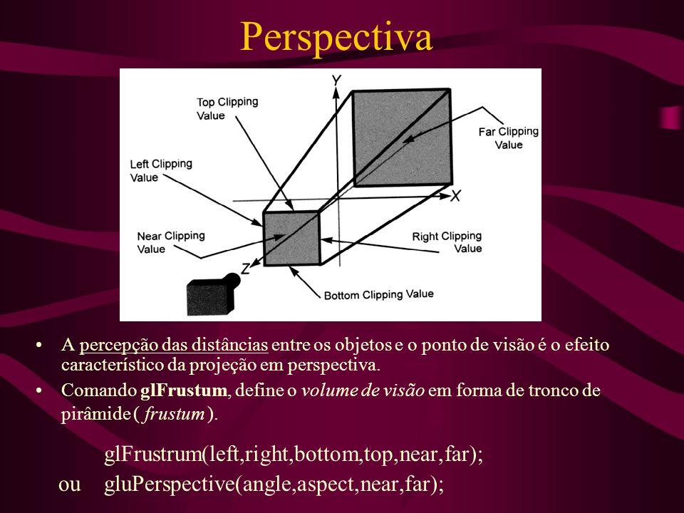 Perspectiva glFrustrum(left,right,bottom,top,near,far);