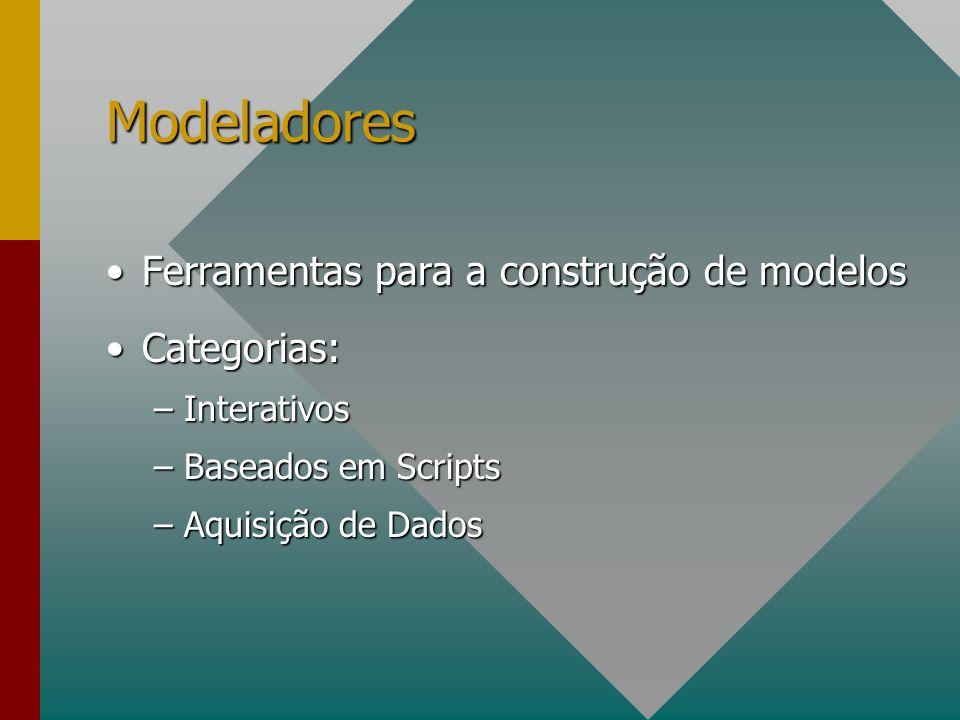 Modeladores Ferramentas para a construção de modelos Categorias: