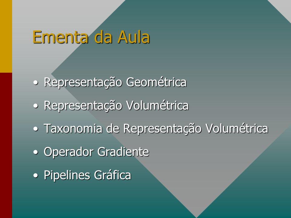 Ementa da Aula Representação Geométrica Representação Volumétrica