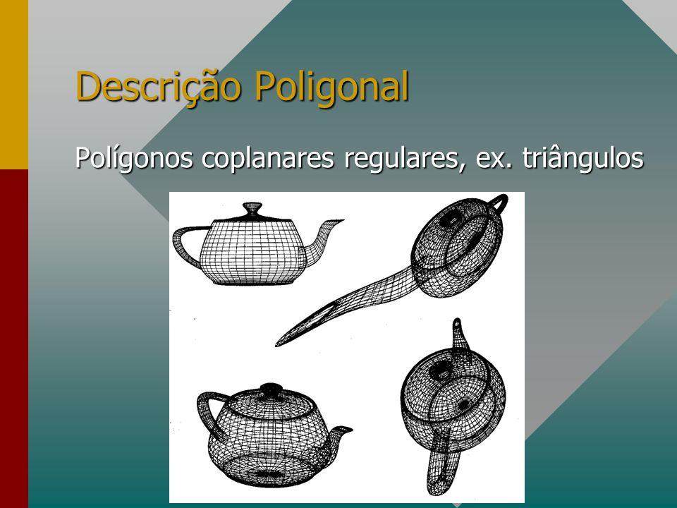 Descrição Poligonal Polígonos coplanares regulares, ex. triângulos