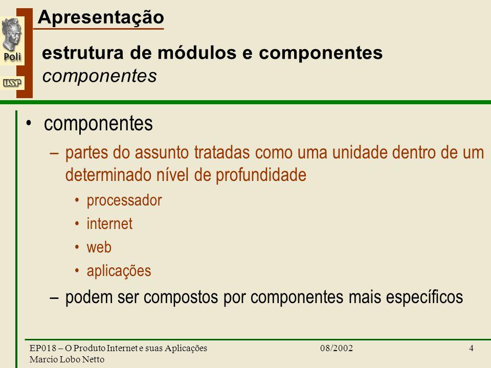 estrutura de módulos e componentes componentes