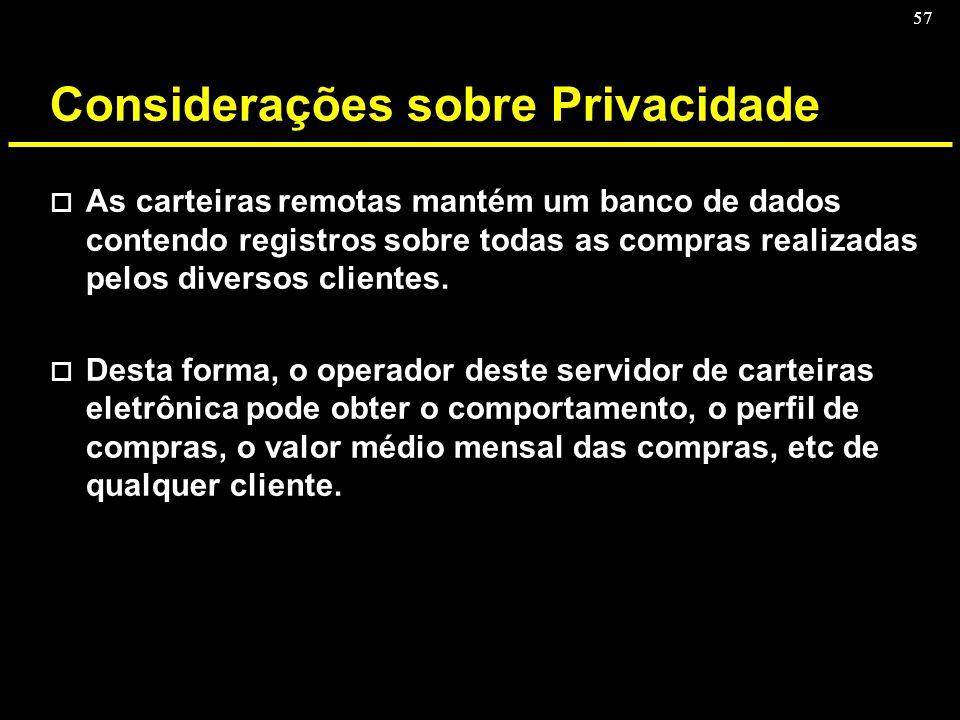 Considerações sobre Privacidade