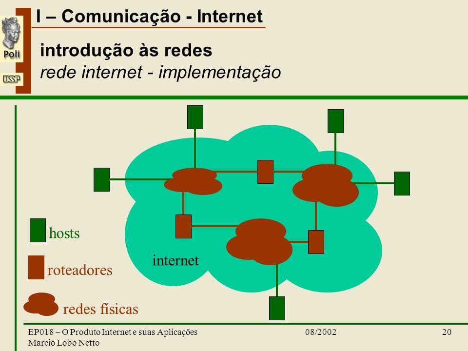introdução às redes rede internet - implementação