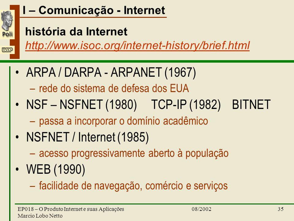 história da Internet http://www.isoc.org/internet-history/brief.html
