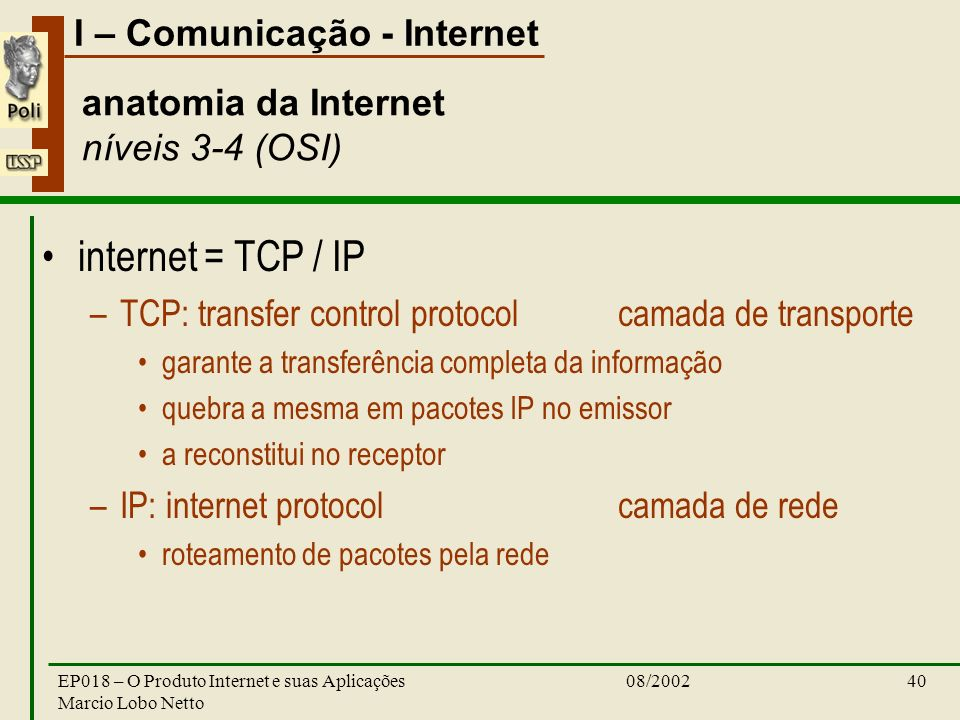 anatomia da Internet níveis 3-4 (OSI)