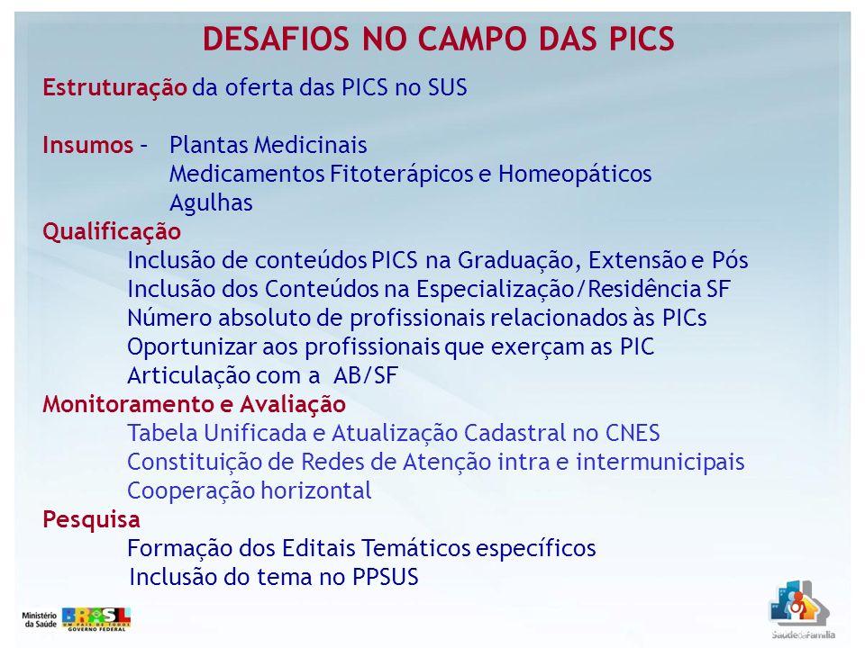DESAFIOS NO CAMPO DAS PICS