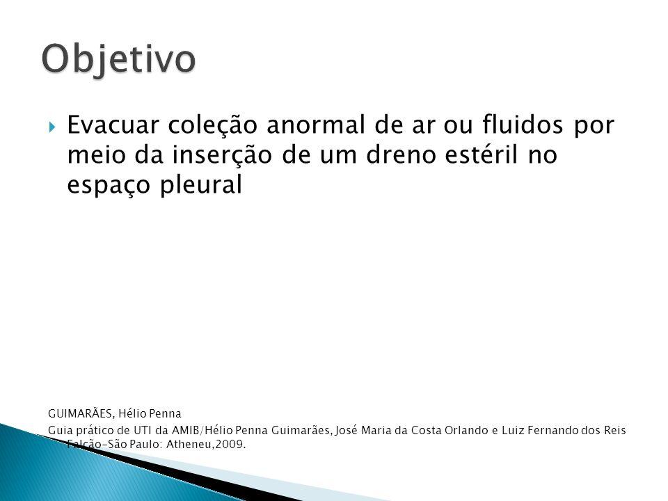 Objetivo Evacuar coleção anormal de ar ou fluidos por meio da inserção de um dreno estéril no espaço pleural.