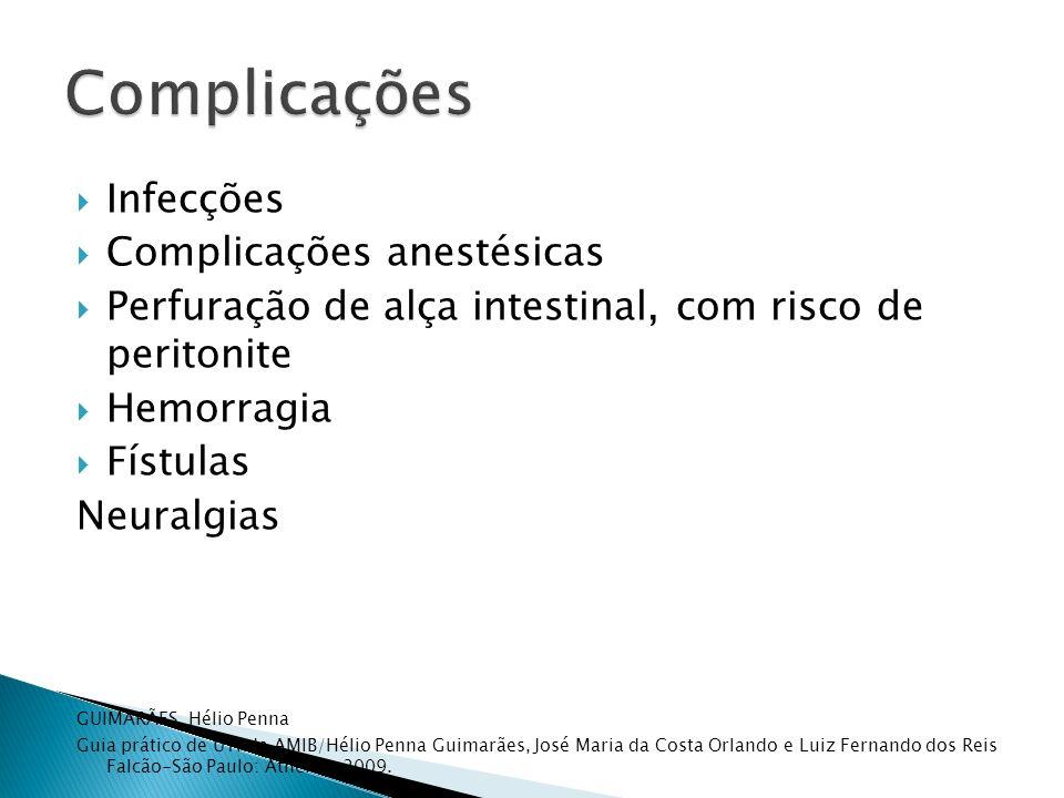 Complicações Infecções Complicações anestésicas