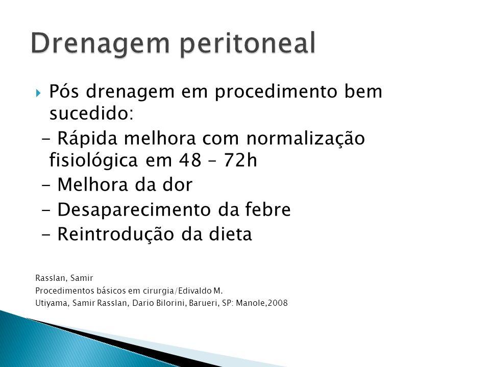 Drenagem peritoneal Pós drenagem em procedimento bem sucedido: