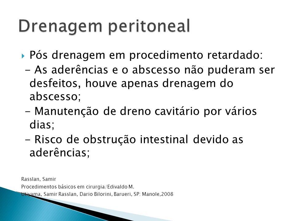 Drenagem peritoneal Pós drenagem em procedimento retardado: