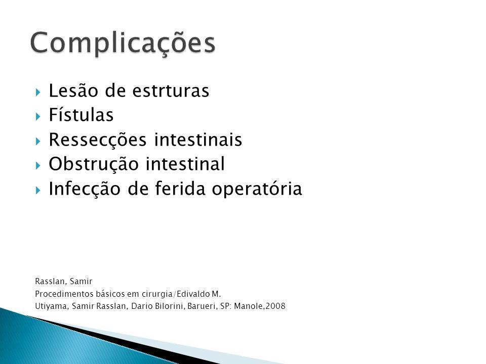 Complicações Lesão de estrturas Fístulas Ressecções intestinais