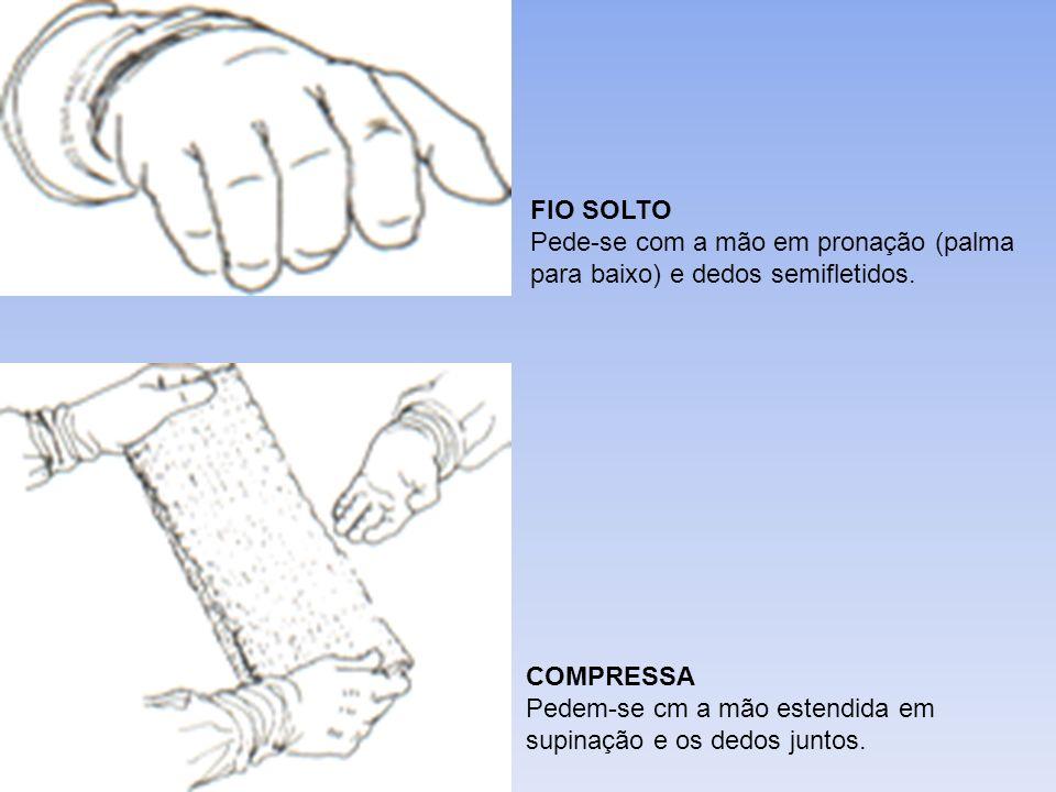 FIO SOLTO Pede-se com a mão em pronação (palma para baixo) e dedos semifletidos.