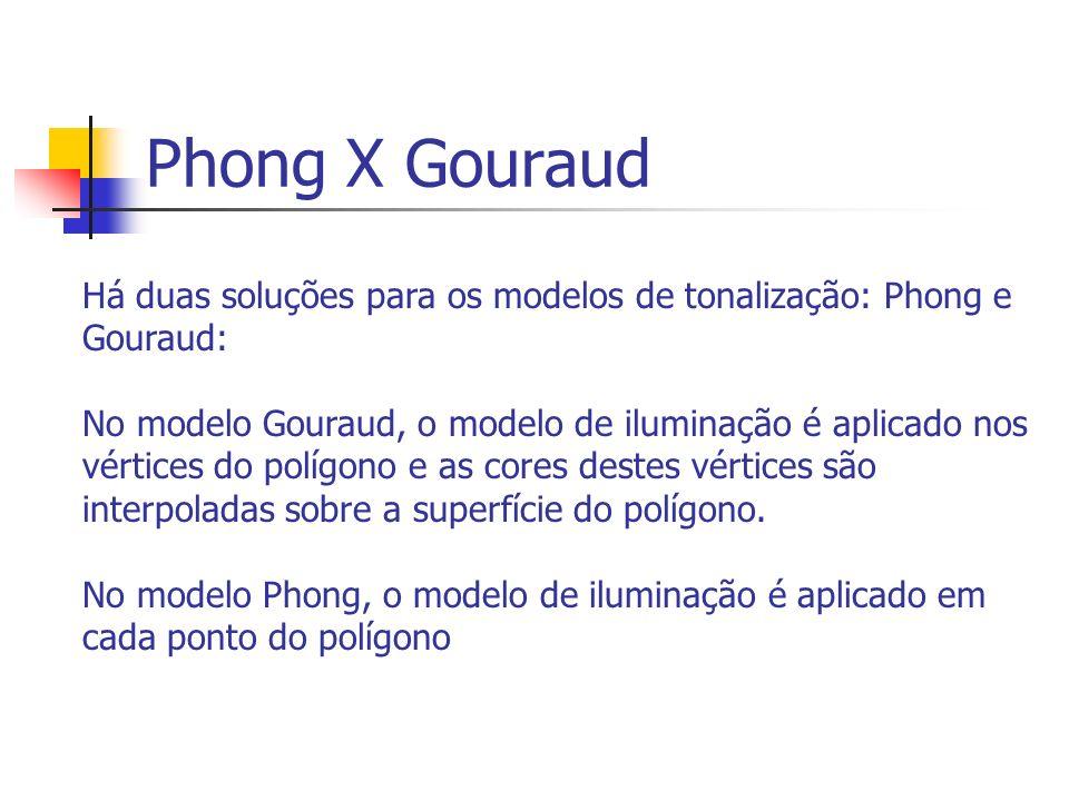Phong X Gouraud Há duas soluções para os modelos de tonalização: Phong e Gouraud: