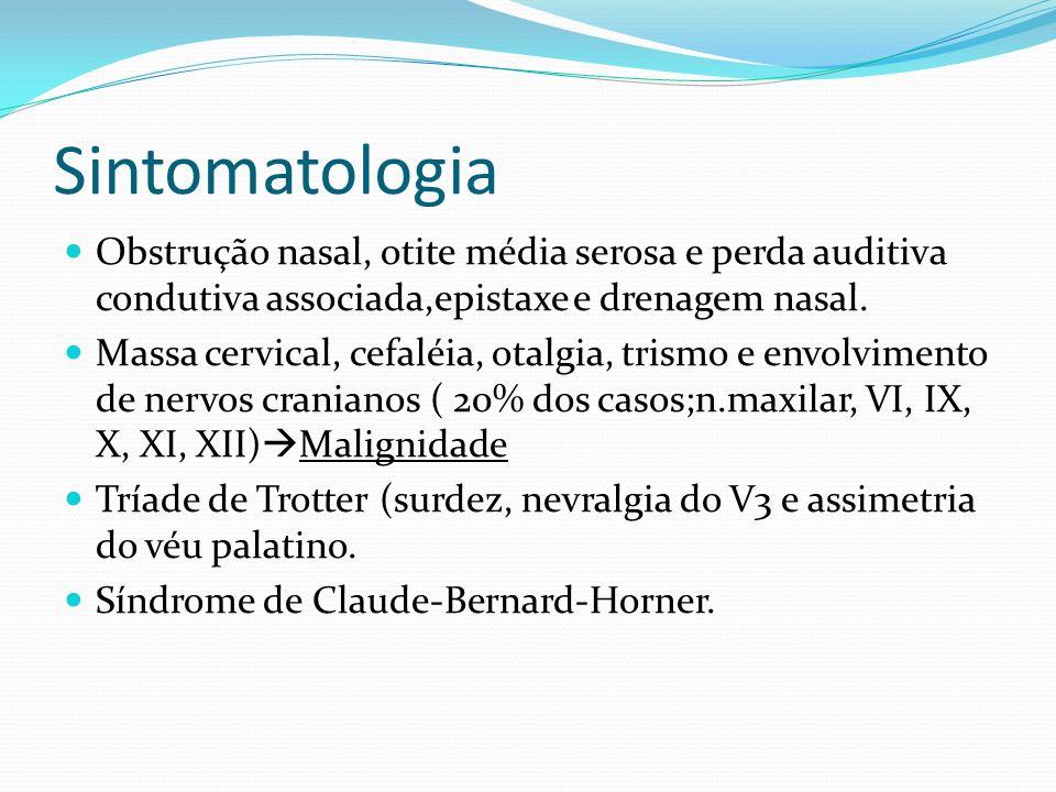 Sintomatologia Obstrução nasal, otite média serosa e perda auditiva condutiva associada,epistaxe e drenagem nasal.