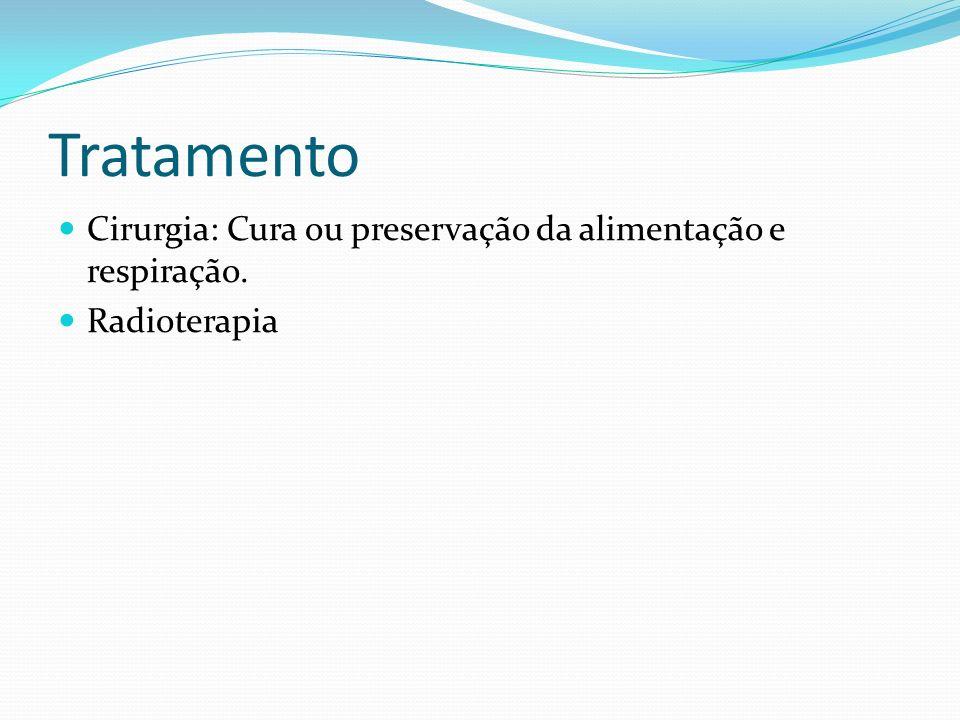Tratamento Cirurgia: Cura ou preservação da alimentação e respiração.