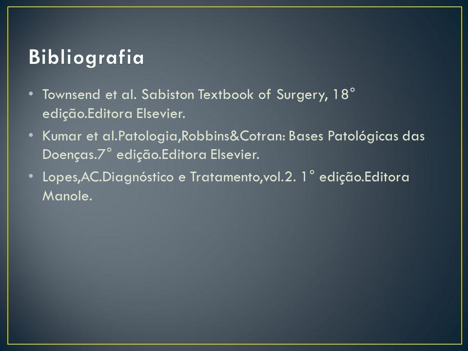 BibliografiaTownsend et al. Sabiston Textbook of Surgery, 18° edição.Editora Elsevier.