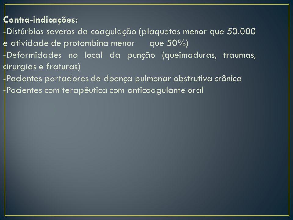 Contra-indicações: -Distúrbios severos da coagulação (plaquetas menor que 50.000 e atividade de protombina menor que 50%)