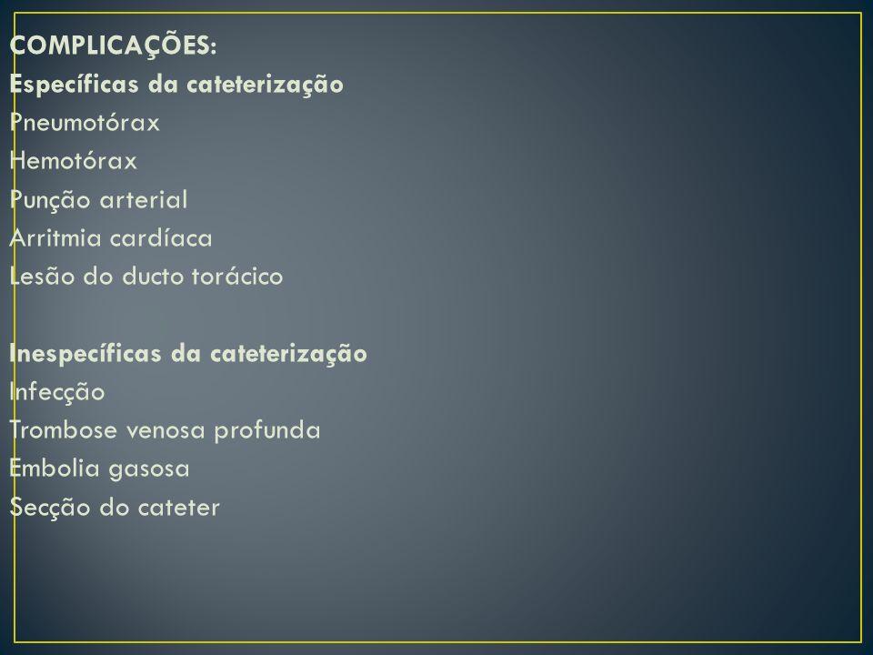 COMPLICAÇÕES: Específicas da cateterização. Pneumotórax. Hemotórax. Punção arterial. Arritmia cardíaca.