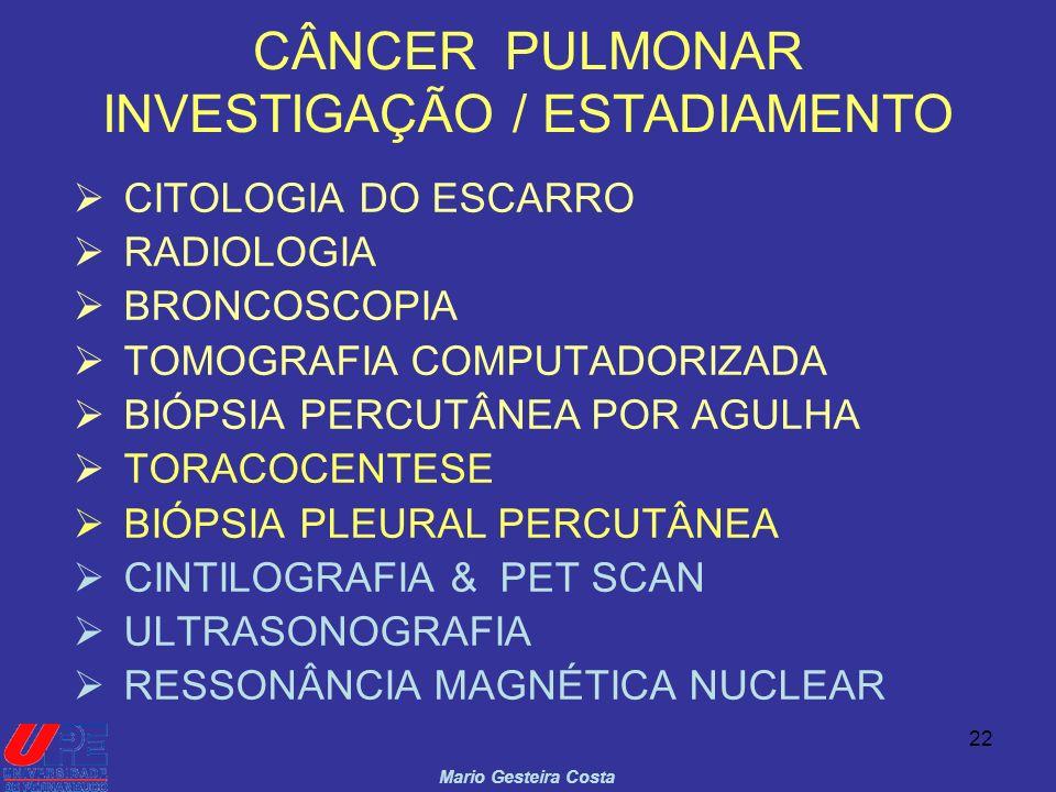 CÂNCER PULMONAR INVESTIGAÇÃO / ESTADIAMENTO