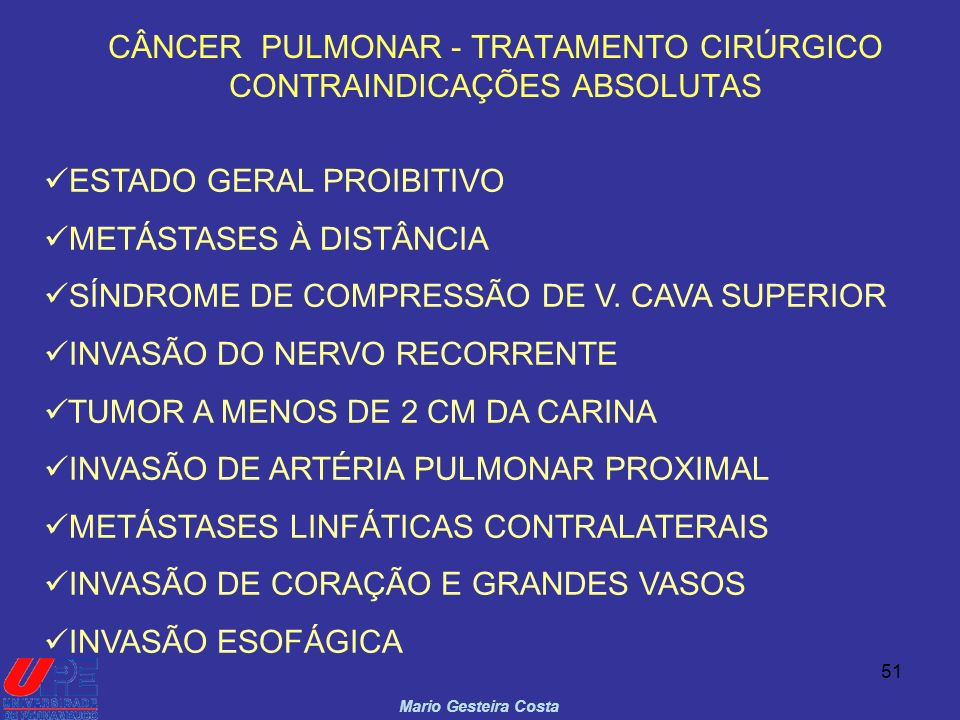 CÂNCER PULMONAR - TRATAMENTO CIRÚRGICO CONTRAINDICAÇÕES ABSOLUTAS