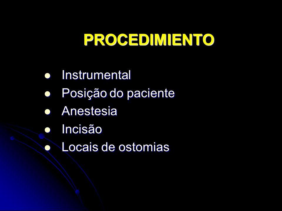PROCEDIMIENTO Instrumental Posição do paciente Anestesia Incisão