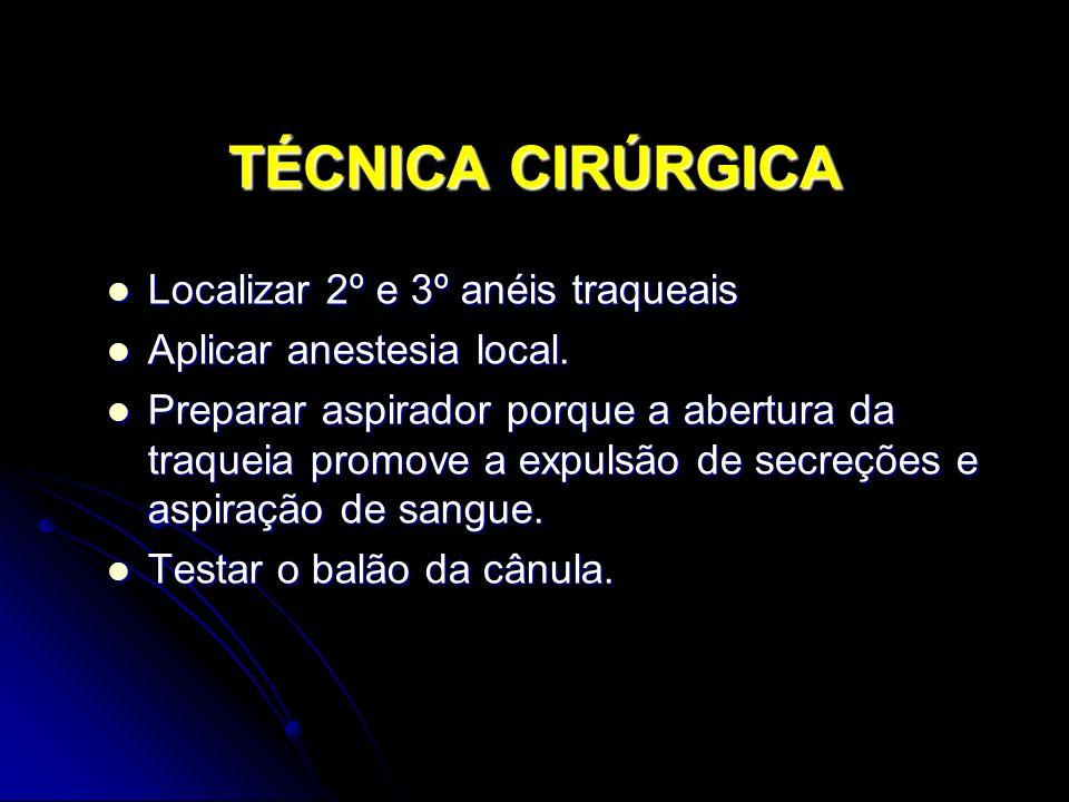 TÉCNICA CIRÚRGICA Localizar 2º e 3º anéis traqueais