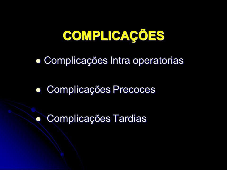 COMPLICAÇÕES Complicações Intra operatorias Complicações Precoces