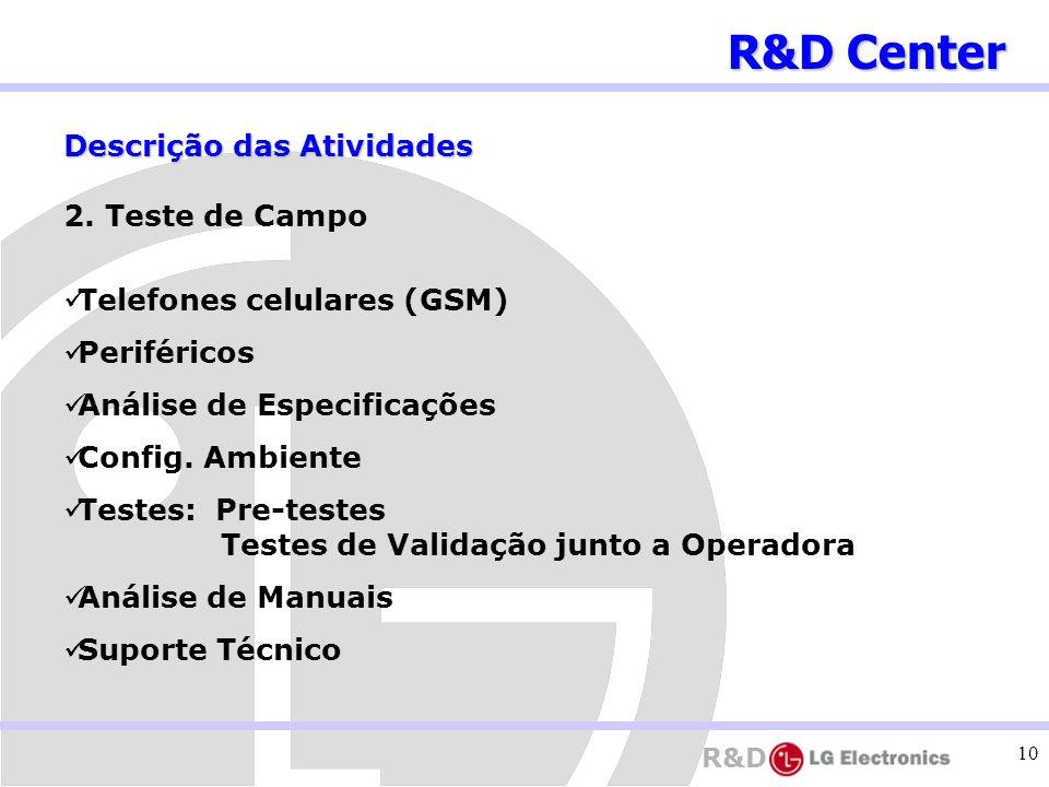 R&D Center Descrição das Atividades 2. Teste de Campo