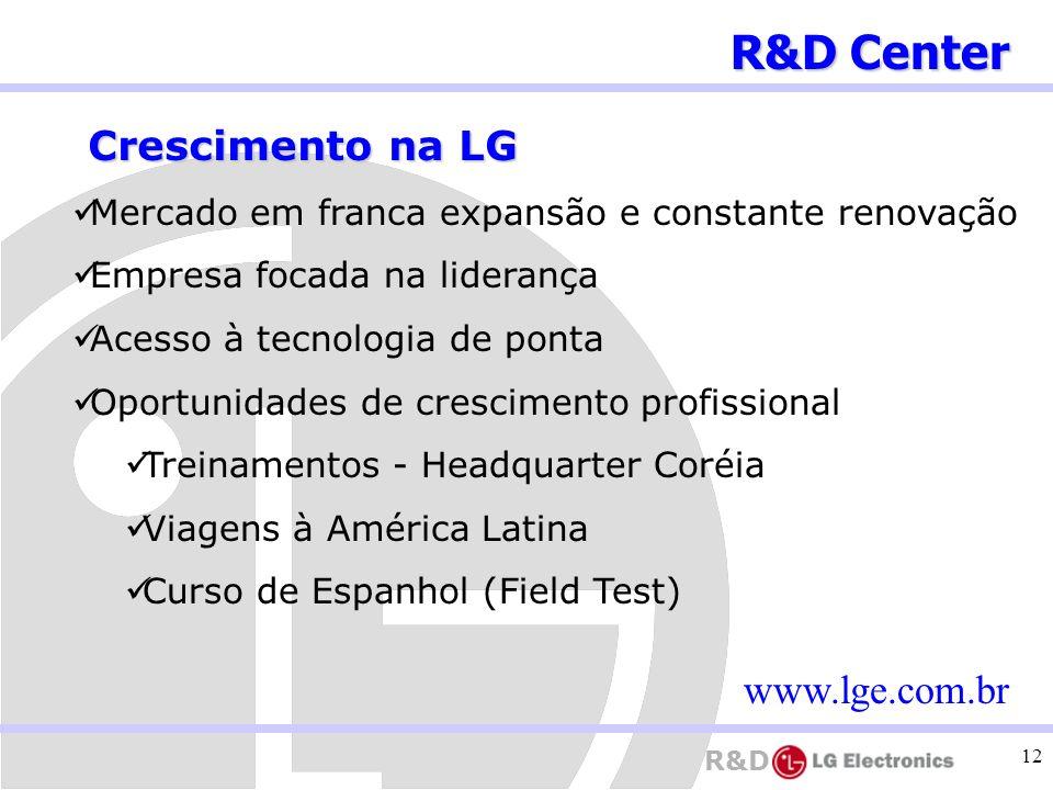 R&D Center Crescimento na LG www.lge.com.br