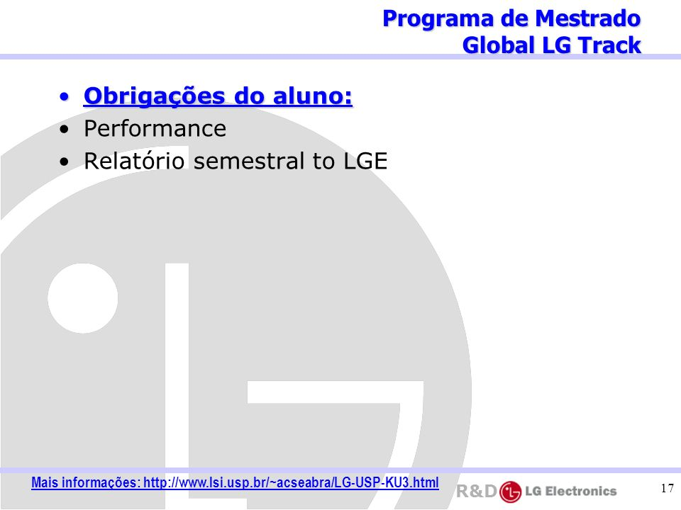 Mais informações: http://www.lsi.usp.br/~acseabra/LG-USP-KU3.html
