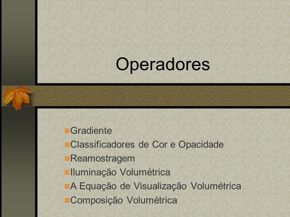 Operadores Gradiente Classificadores de Cor e Opacidade Reamostragem
