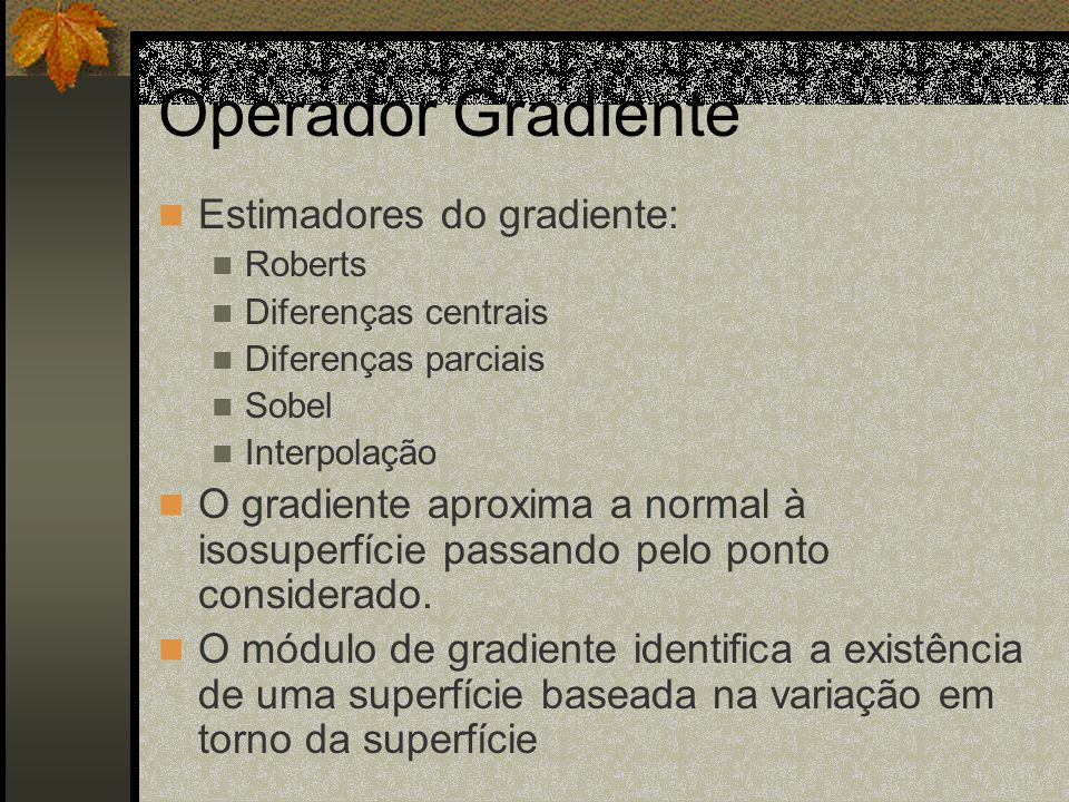 Operador Gradiente Estimadores do gradiente: