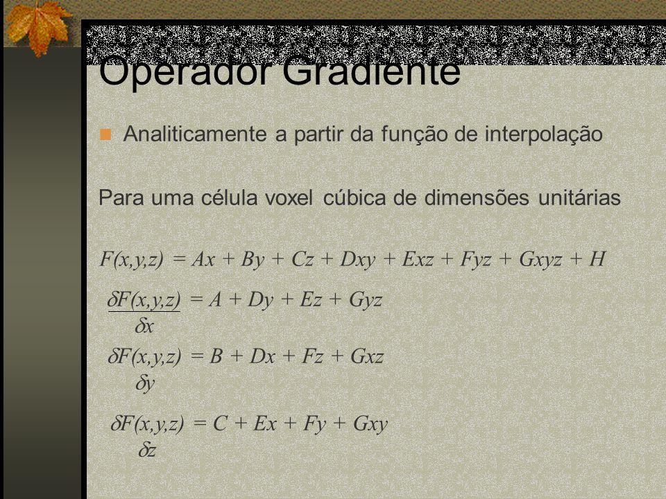Operador Gradiente Analiticamente a partir da função de interpolação