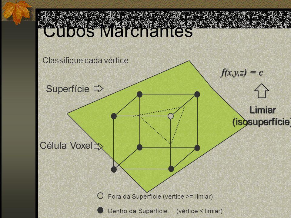 Cubos Marchantes f(x,y,z) = c Superfície Limiar (isosuperfície)
