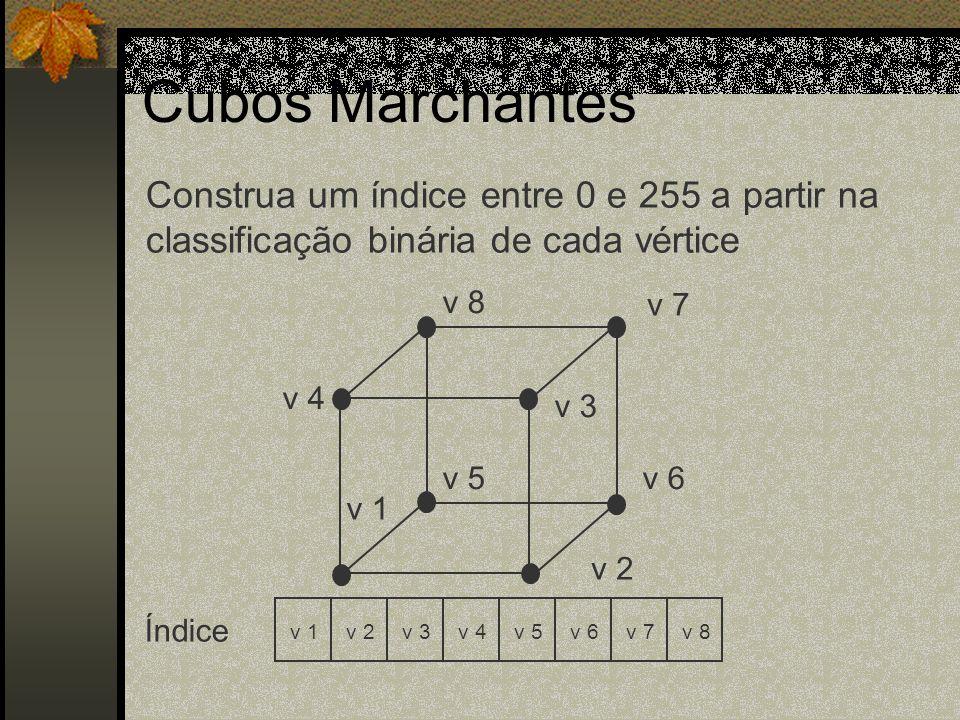 Cubos MarchantesConstrua um índice entre 0 e 255 a partir na classificação binária de cada vértice.