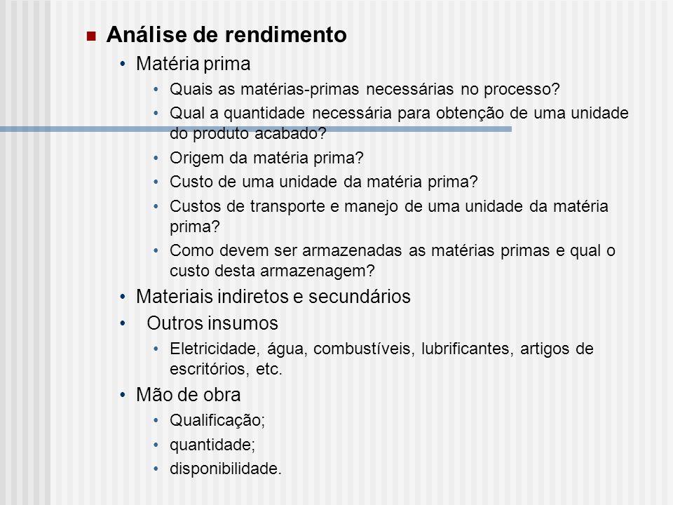 Análise de rendimento Matéria prima Materiais indiretos e secundários