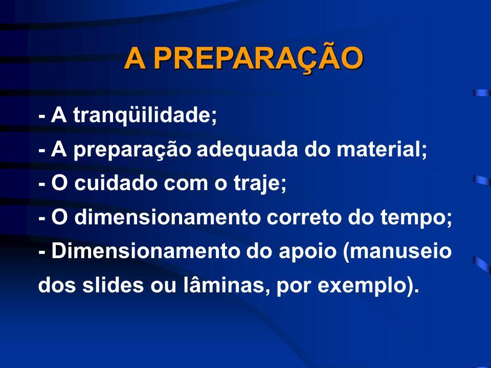 A PREPARAÇÃO - A tranqüilidade; - A preparação adequada do material;