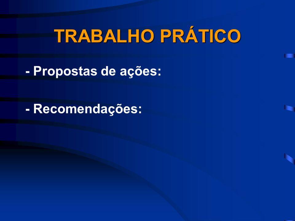 TRABALHO PRÁTICO - Propostas de ações: - Recomendações: