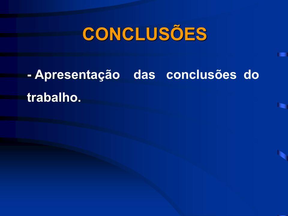 CONCLUSÕES - Apresentação das conclusões do trabalho.