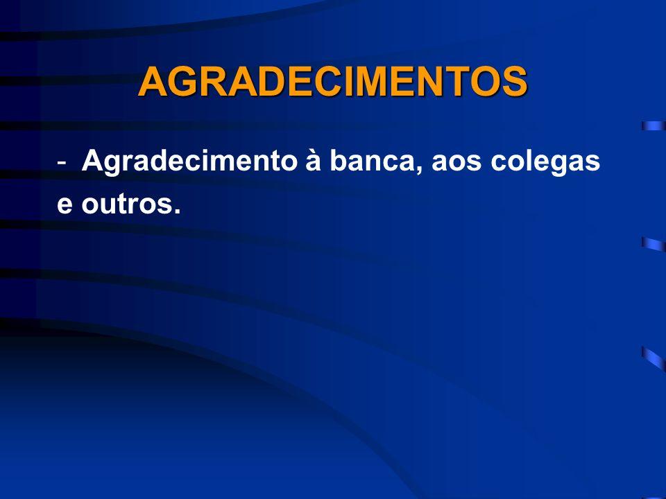 AGRADECIMENTOS Agradecimento à banca, aos colegas e outros.