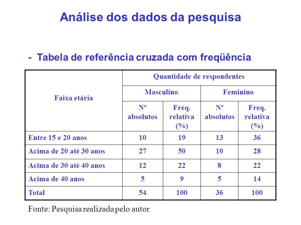 Análise dos dados da pesquisa